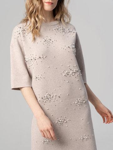 Женское платье песочного цвета из вискозы - фото 5