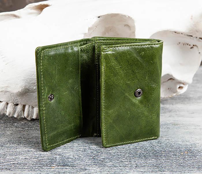 WL299-4 Зеленый кожаный кошелек с монетницей фото 06