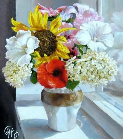 Картина раскраска по номерам 50x65 Букет из разных цветов в вазе