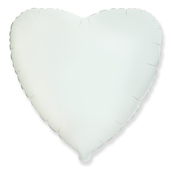 Фольгированный воздушный шар большое сердце, белое , 81 см