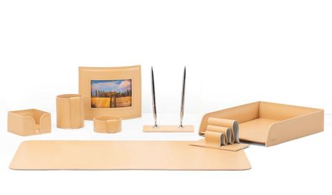 Настольный набор 8 предметов из кожи cuoietto naturale