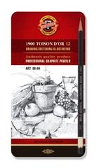 Набор чернографитных карандашей TOISON D`OR 1902 ART,8B-8H, 12шт, металл.коробка