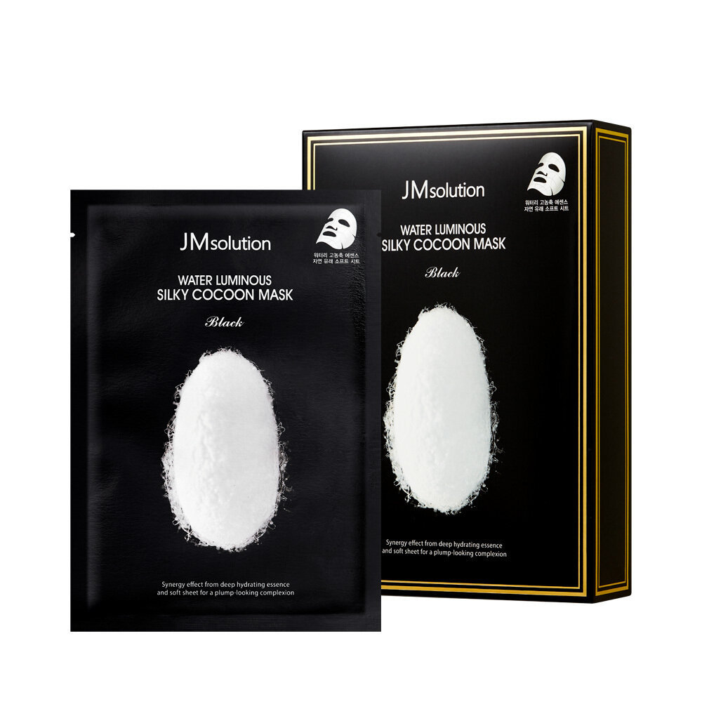 Тканевая маска для упругости кожи с протеинами кокона белого шелкопряда WATER LUMINOUS SILKY COCOON MASK BLACK, 10 штук