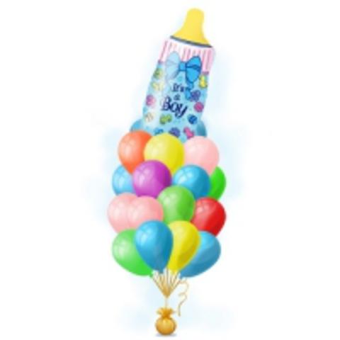 Фонтан из шаров с бутылочкой для мальчика