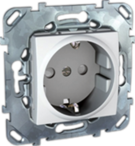 Розетка с быстрозажимными клеммами, с заземляющими контактами + шторками 16А. Цвет Белый. Schneider electric Unica. MGU5.057.18ZD
