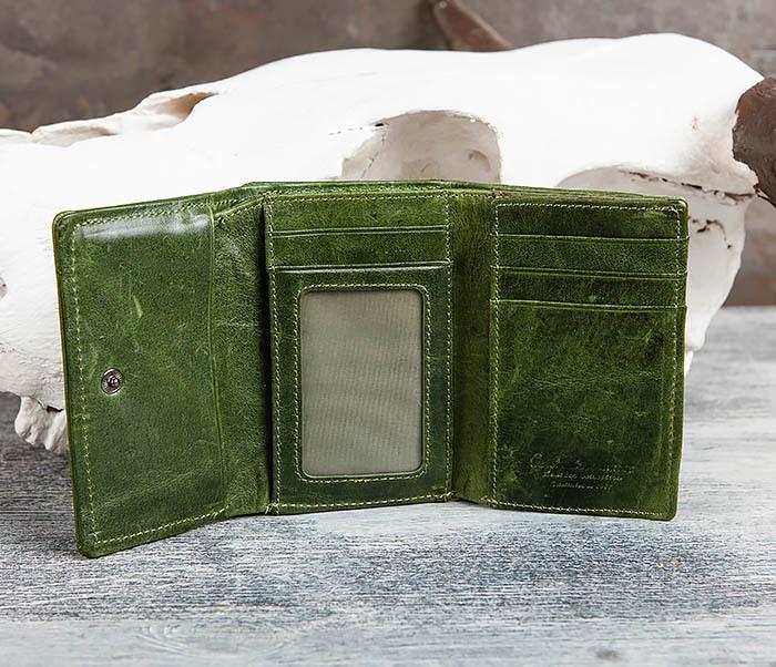 WL299-4 Зеленый кожаный кошелек с монетницей фото 07