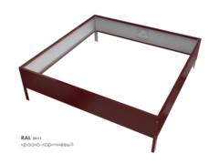 Клумба квадратная оцинкованная 1 ярус RAL 3011 Красно-коричневый