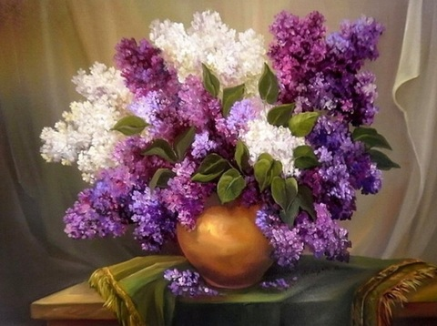 Алмазная Мозаика 20x30 Разноцветная сирень в вазе на столе (арт. TC8256 )
