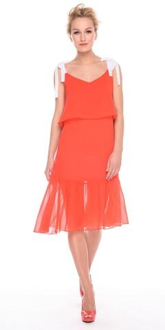 Фото оранжевое летнее платье а-силуэта на бретелях с воланами - Платье З189а-901 (1)