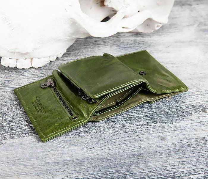 WL299-4 Зеленый кожаный кошелек с монетницей фото 08