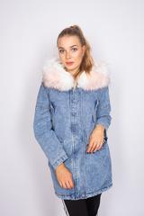 зимняя джинсовая куртка с мехом женская nadya