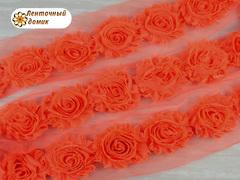 Шифоновые шебби-розы неоновый оранж диаметр 6 см