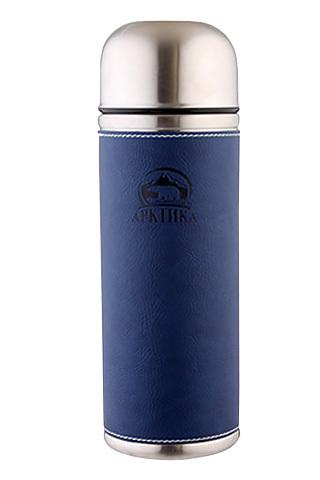 Термос Арктика (0,5 литра) с узким горлом, синий, кожаная вставка