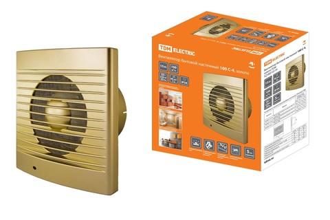 Вентилятор бытовой настенный 100 С-4, золото TDM