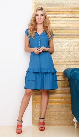 Фото синее платье прямого силуэта с коротким рукавом и рюшами - Платье З274-321 (1)