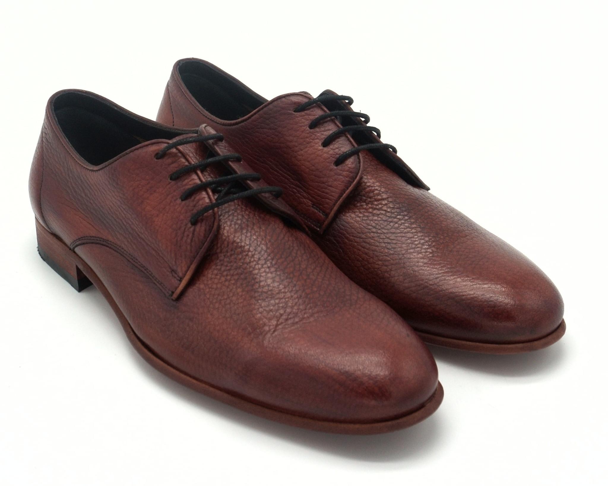 Бордовые кожаные полуботинки на шнуровке
