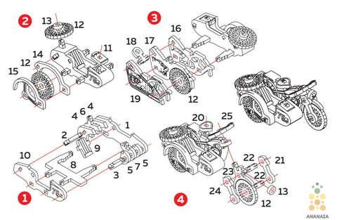 Мотоцикл М-72 (UNIWOOD) - Инструкция - Деревянный конструктор, 3D пазл, сборная модель