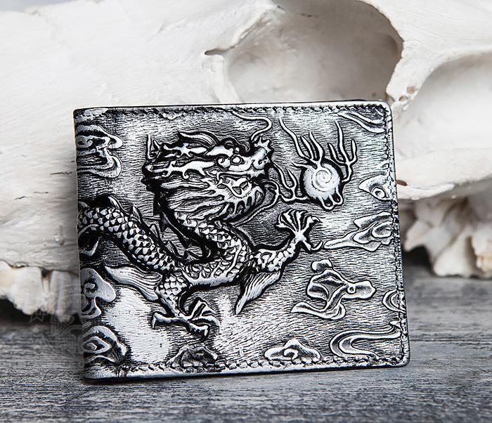WL293-1 Необычный мужской кошелек из натуральной кожи с драконом фото 02