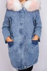 зимняя джинсовая куртка с мехом женская магазин