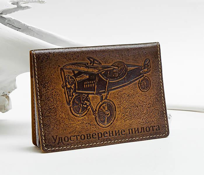 BY040414 Обложка из кожидля документов в ретро стиле «Удостоверение Пилота» фото 02