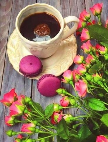 Алмазная Мозаика 40x50 Кофе и розовые розы (арт. SGA2348)
