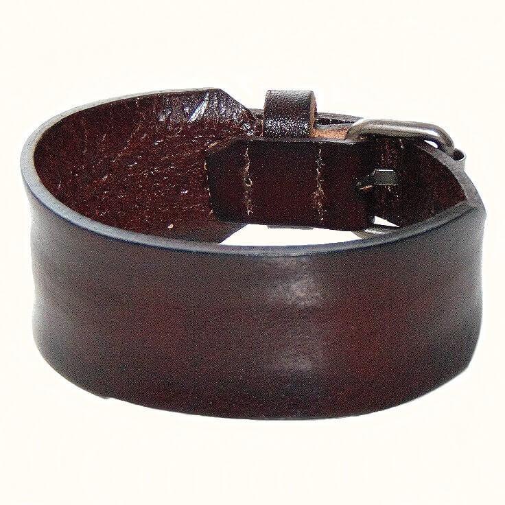 Браслет узкий кожаный темно-коричневый -К 49493
