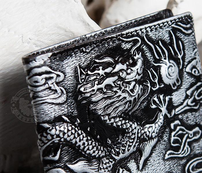 WL293-1 Необычный мужской кошелек из натуральной кожи с драконом фото 03