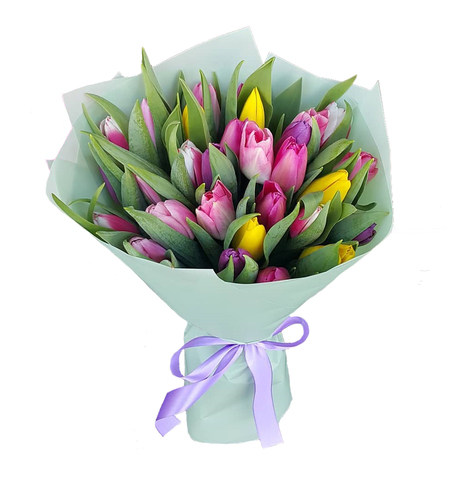 Букет из 29 микс тюльпанов 4