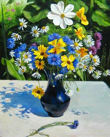 Картина раскраска по номерам 50x65 Яркий летний букет в синей вазе