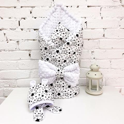 СуперМамкет. Конверт-одеяло с бантом и шапочкой Звездопад, черный/белый плюш вид 1