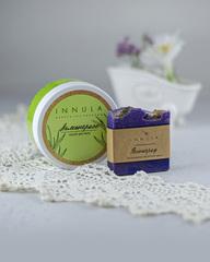 Соляной скраб для тела «Лемонграсс» и мыло «Виноград», Россия