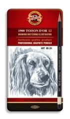 Набор чернографитных карандашей TOISON D`OR 1912 ART,8B-2H, 12шт, металл.коробка