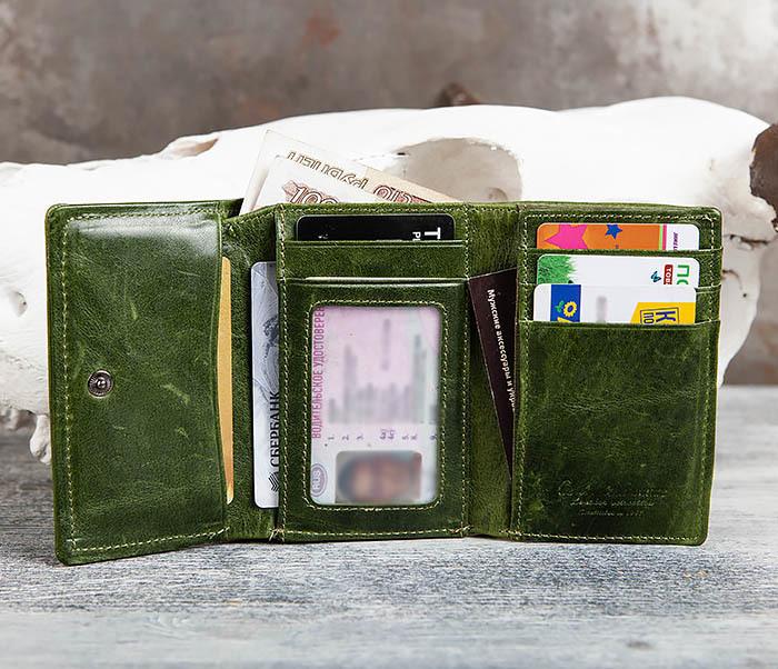 WL299-4 Зеленый кожаный кошелек с монетницей фото 11