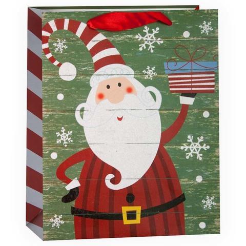 Пакет подарочный, Дед Мороз с подарком, Зеленый, с блестками, 42*31*12 см