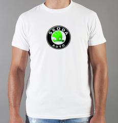 Футболка с принтом Шкода (Skoda) белая 001
