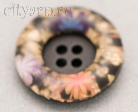 Пуговица круглая, с выпуклым ободком с цветами, 23 мм