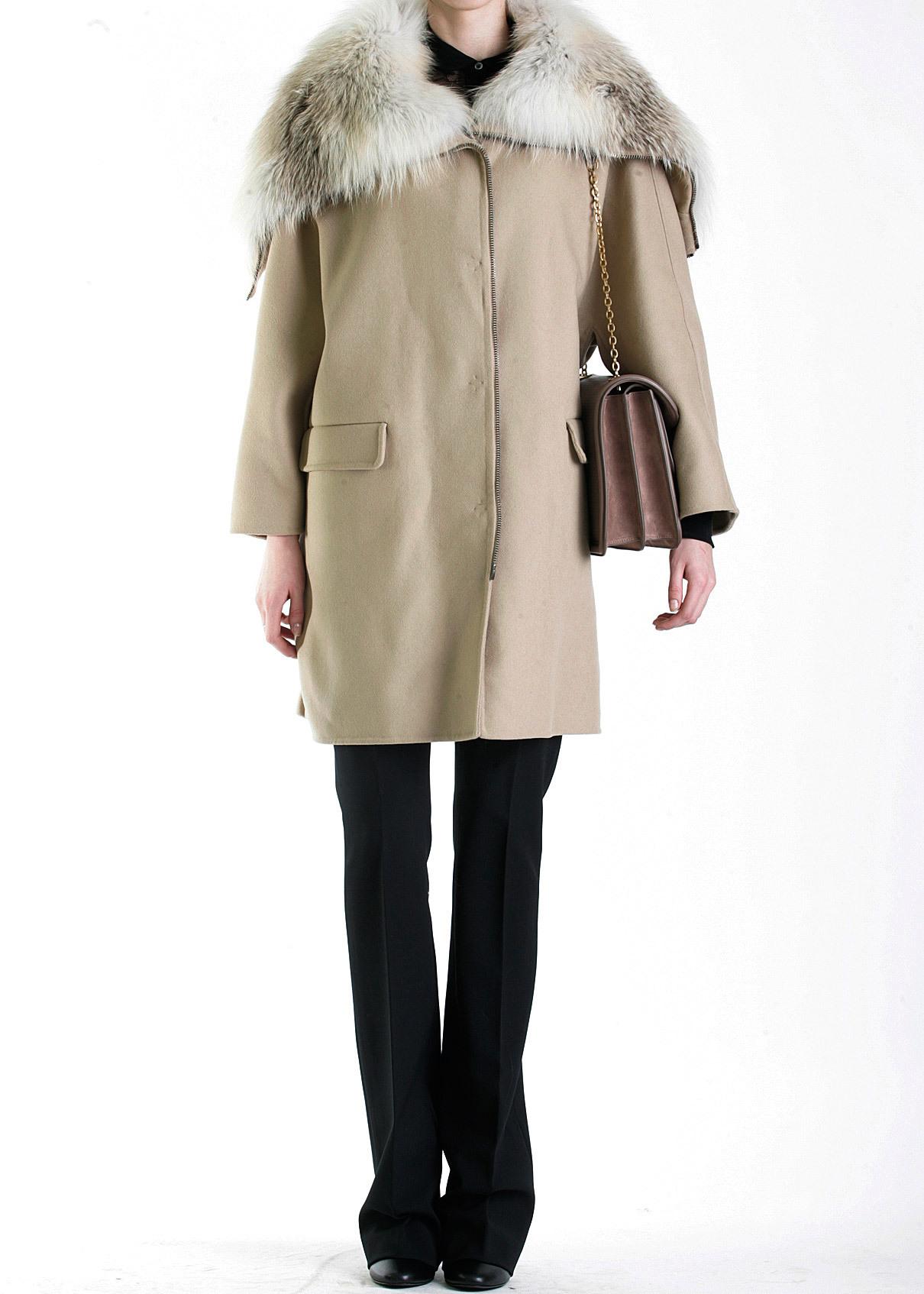 Пальто из шерсти с мехом песца. ERMANNO SCERVINO