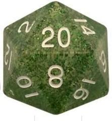 Mega Acrylic D20: Ethereal Green with White Numbers