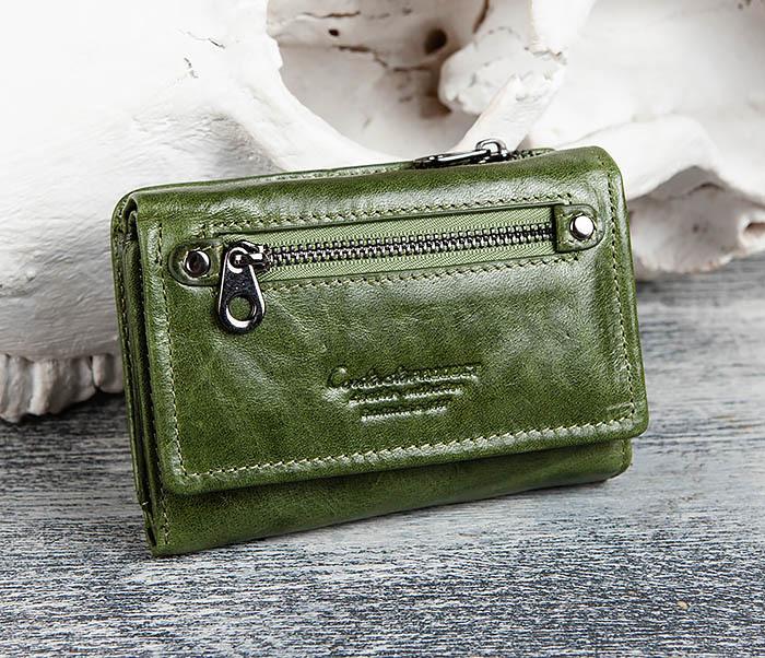 WL299-4 Зеленый кожаный кошелек с монетницей фото 13