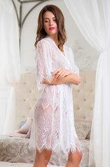 Кружевной халат белый