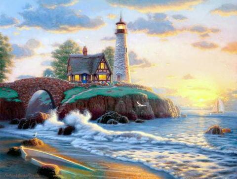 Алмазная Мозаика 40x50 Домик с маяком на берегу моря (арт. SGJ73326)