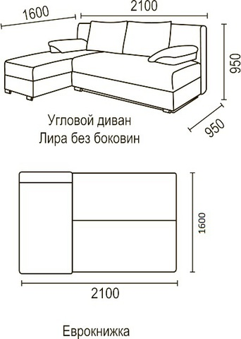 угловой диван Лира без боковин