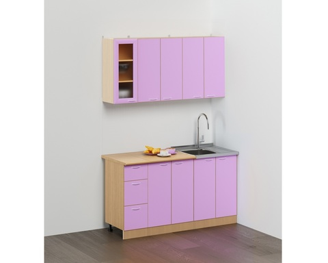 Кухня ЭКОНОМ -2 КХ-11 дуб беленый / фиолетовый