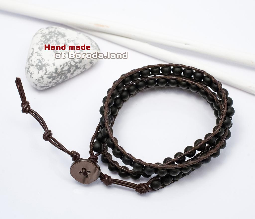 BS542-1 Мужской браслет «Чан Лу» ручной работы на кожаном шнуре, шунгит. «Boroda Design» фото 02