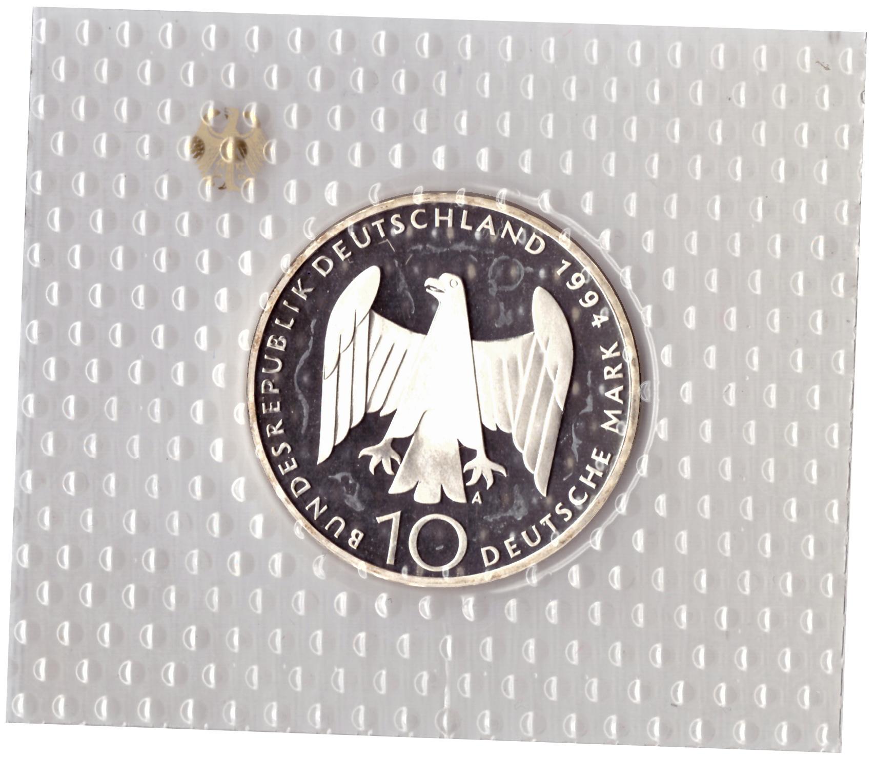 10 марок 1994 год (A) 50 лет с момента покушения на Адольфа Гитлера, Германия. PROOF в родной запайке