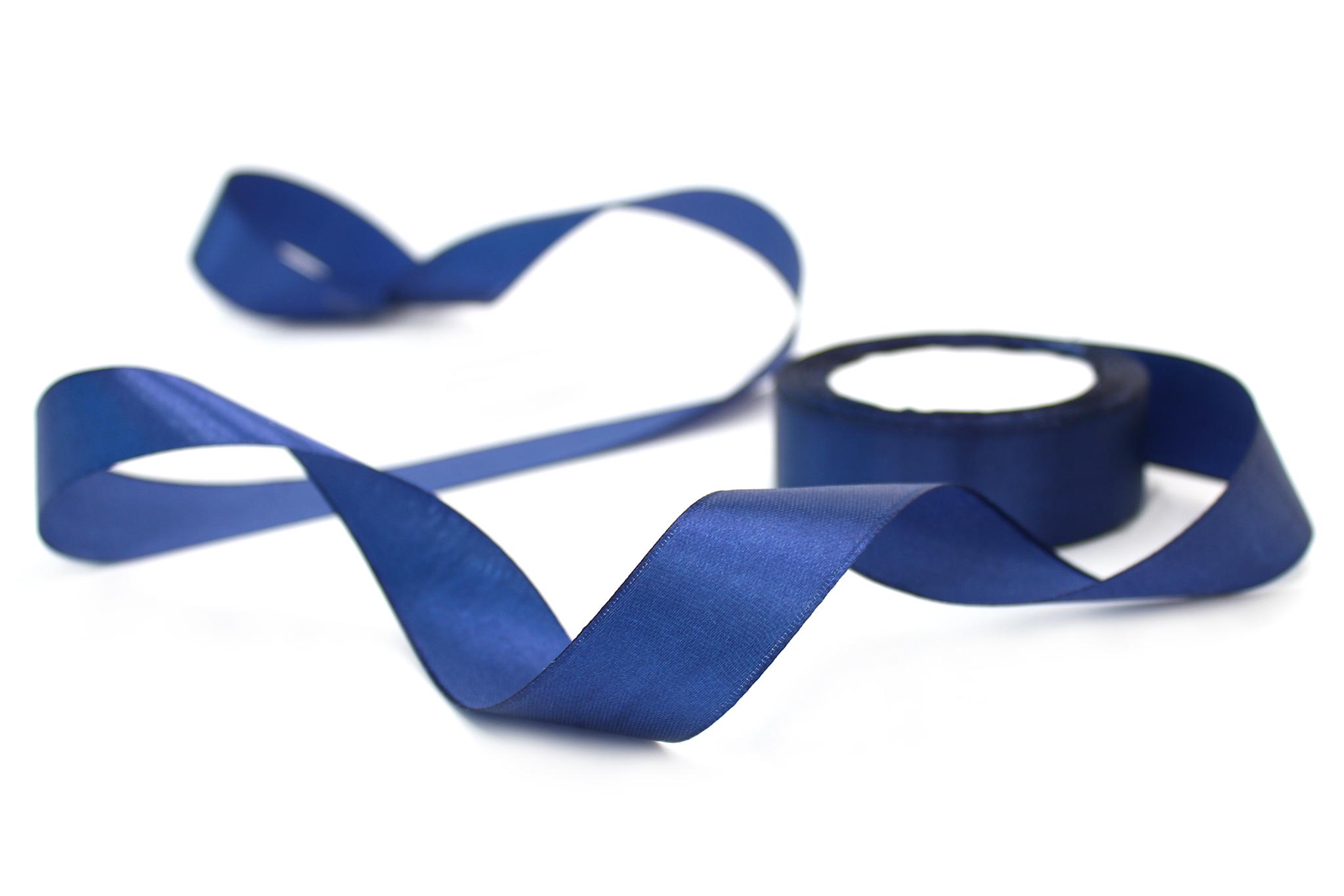 Лента атласная,2,5 см, т.синий