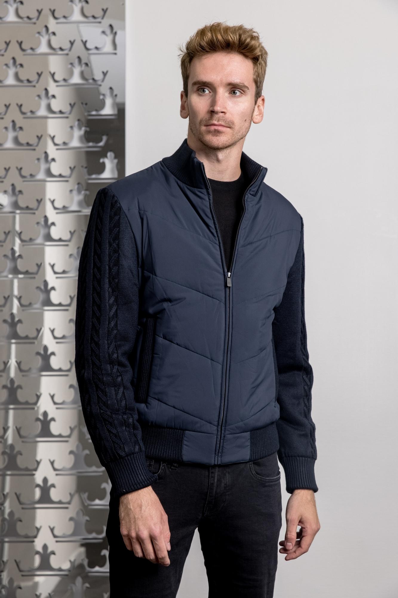 CUDGI Куртка -бомбер с трикотажными рукавами