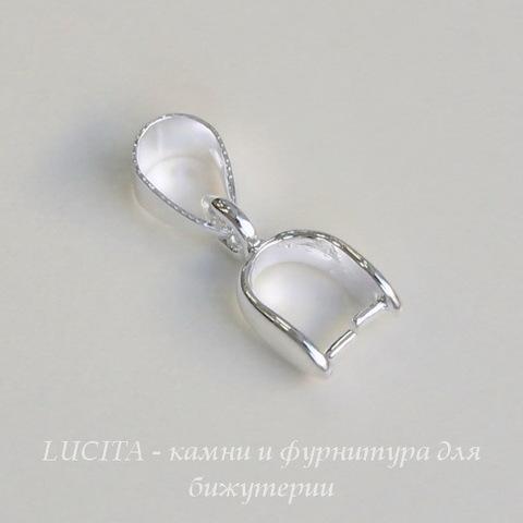 Держатель кулона - петелька 10х6х3 мм (цвет - серебро)