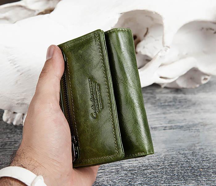 WL299-4 Зеленый кожаный кошелек с монетницей фото 15