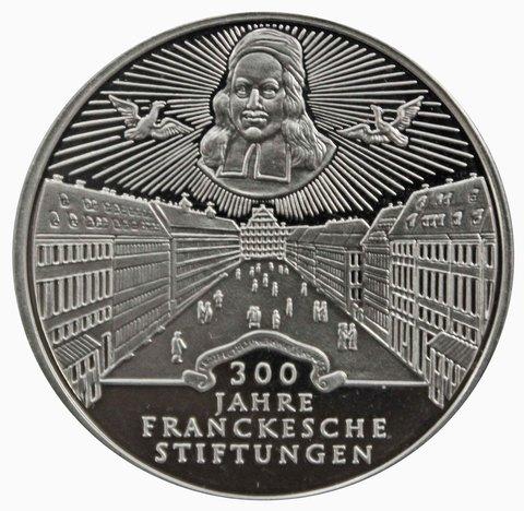10 марок. 300 лет Франкскому благотворительному фонду (G). Серебро. 1998 г. PROOF. В родной запайке